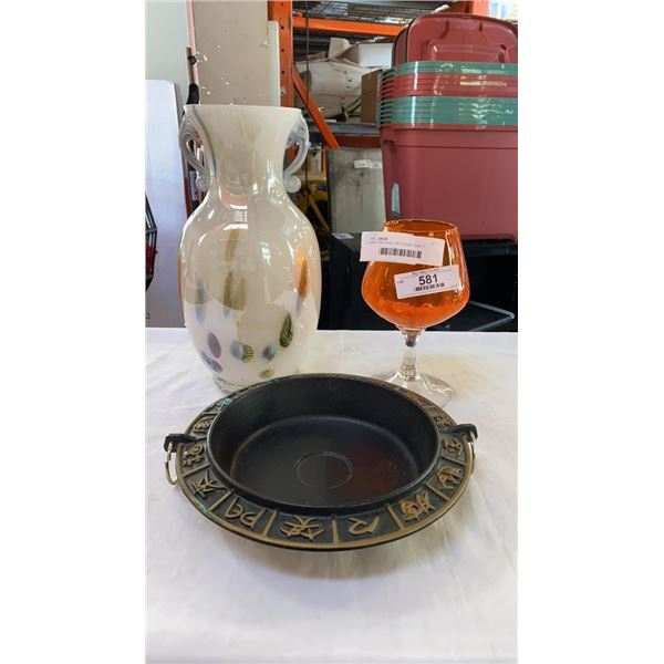 CAST IRON DISH, ART GLASS VASE 13 INCHES TALL AND ORANGE GLASS