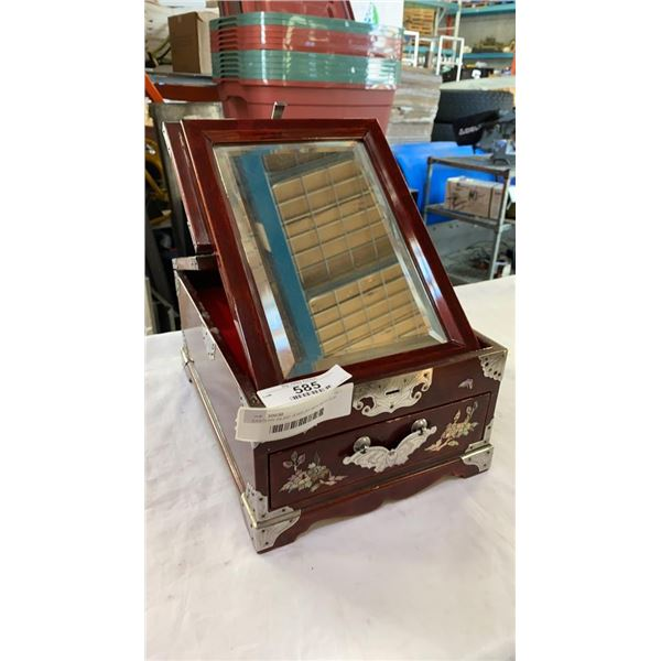 EASTERN INLAID JEWELRY BOX WITH FLIP OUT MIRROR
