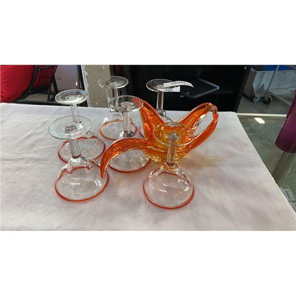 ORANGE ART GLASS DISH AND 6 MARTINI GLASSES
