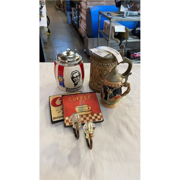 2 STEINS, KFC COIN BANK AND COFFEE COAT HANGERS