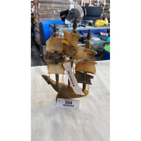 CARVED HORN MODEL SHIP