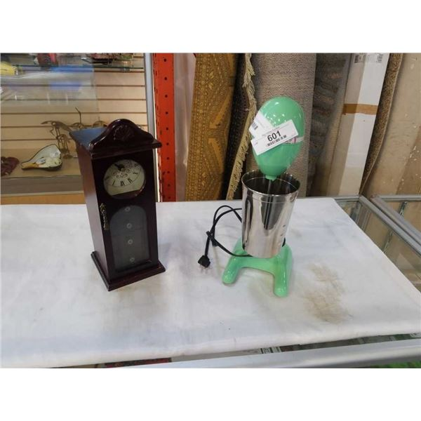 HAMILTON BEACH VINTAGE DRINK MIXER WITH CUP AND CLOCK JEWELRY BOX