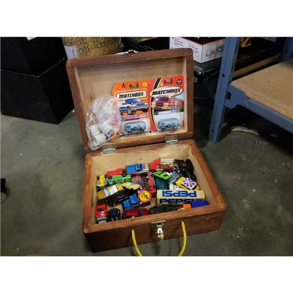 WOOD CASE OF TOY CARS