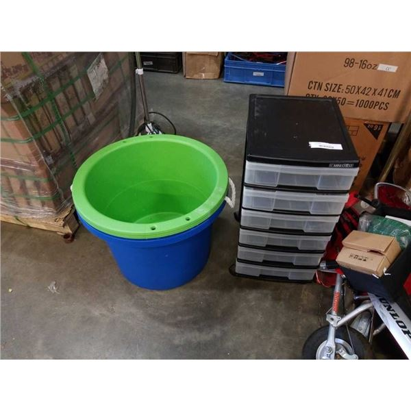 2 LARGE TUBS WITH ORGANIZER