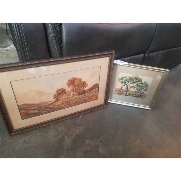 2 WATERCOLORS ON PAPER CA 1930 AND CA 1950-60 BOTH SIGNED