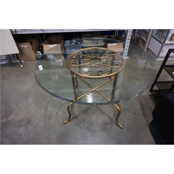 Round metal base glass top table