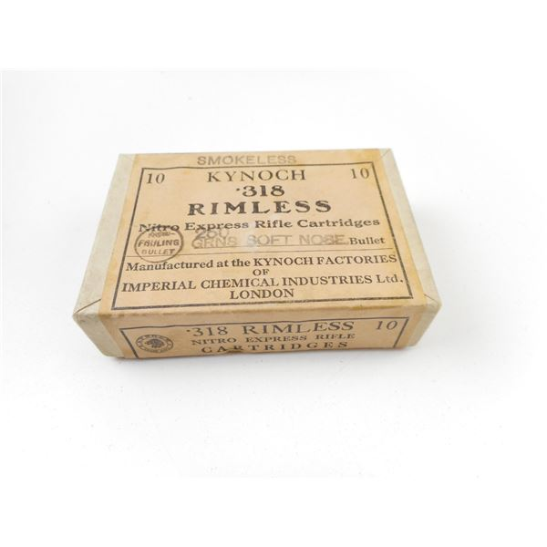 .318 RIMLESS, KYNOCH COLLECTABLE AMMO, SEALED BOX