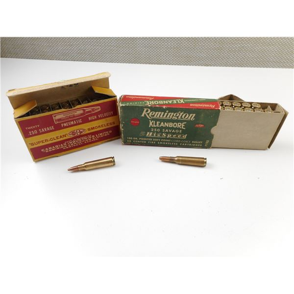 .250 SAVAGE PNEUMATIC DOMINION AMMO, .250 REMINGTON KLEANBORE AMMO, COLLECTIBLE