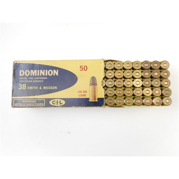 .38 SMITH & WESSON COLLECTIBLE AMMO, DOMINION, ASSORTED BULLETS