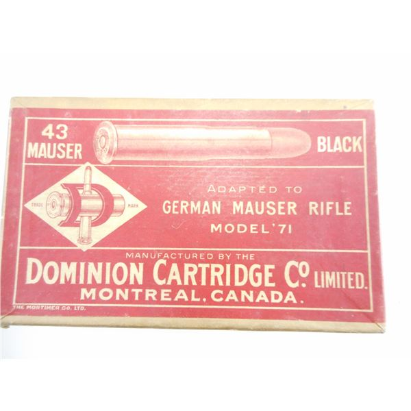 .43 MAUSER , DOMINION COLLECTIBLE AMMO