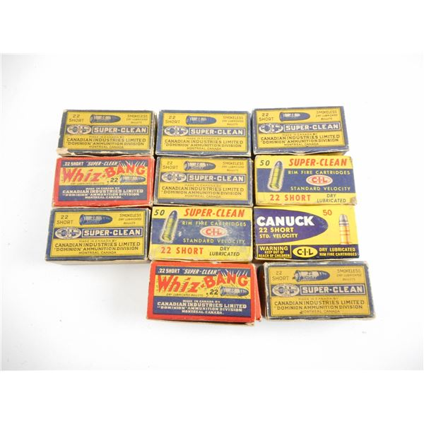 ASSORTED .22 LR SHORT, COLLECTIBLE AMMO LOT