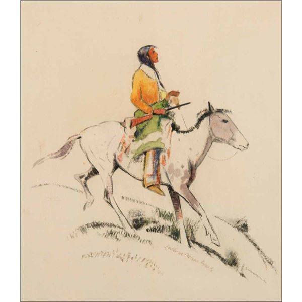 Laverne Nelson Black -Indian on Pinto Pony Facing Right