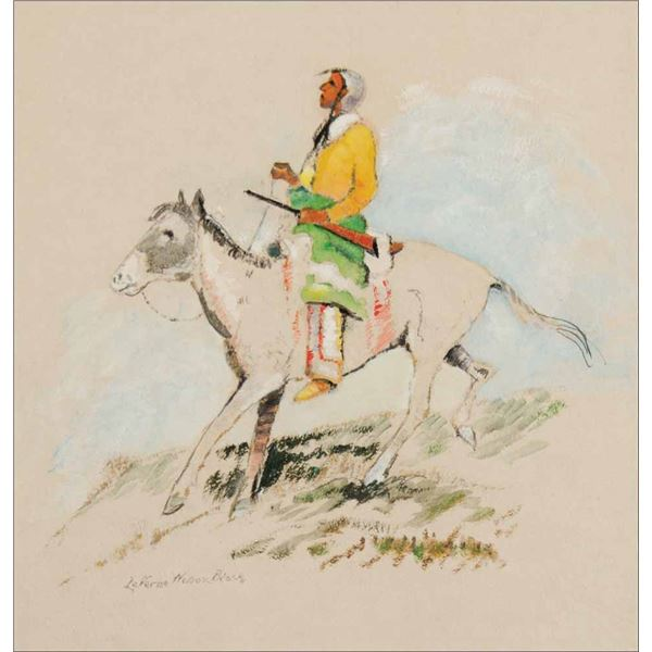 Laverne Nelson Black -Indian on Pinto Pony Facing Left