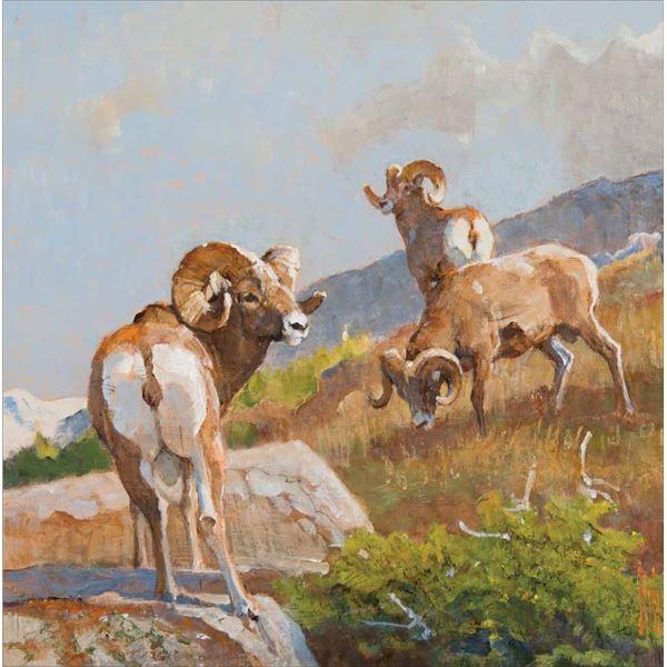 Bob Kuhn -Rams on a Ridge