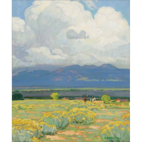 E. Martin Hennings -Riders in Taos Valley
