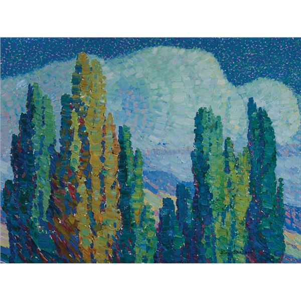Birger Sandzen -Poplars in Moonlight