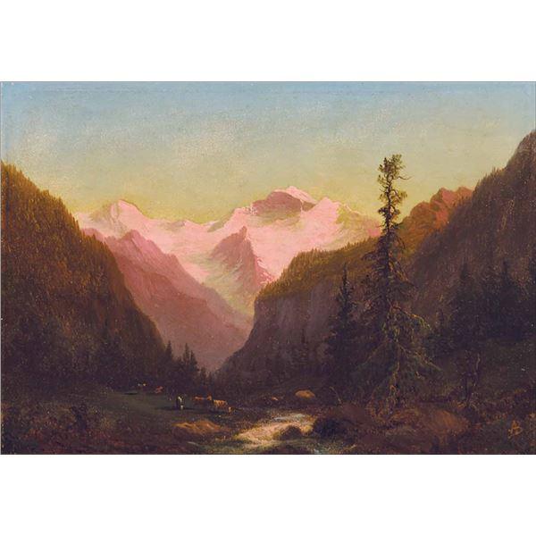 Albert Bierstadt -Swiss Mountain Scene with Cows