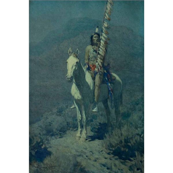 Frank Tenney Johnson -Indian Scout in Moonlight