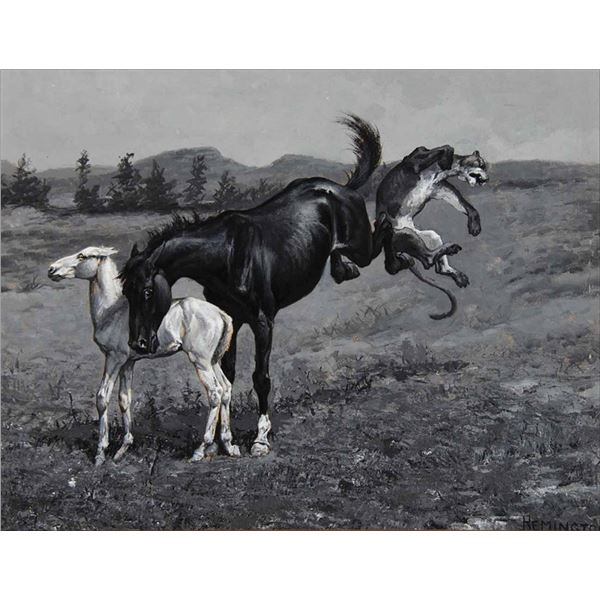 Frederic Remington -The Mare Protects Her Colt