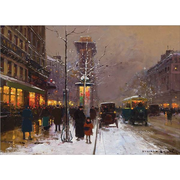 Edouard Cortes -Grand Boulevard Porte Saint-Denis in Winter