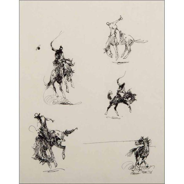 Edward Borein -Thrown, Cowboys, Afternoon Stage & Bucking Studies