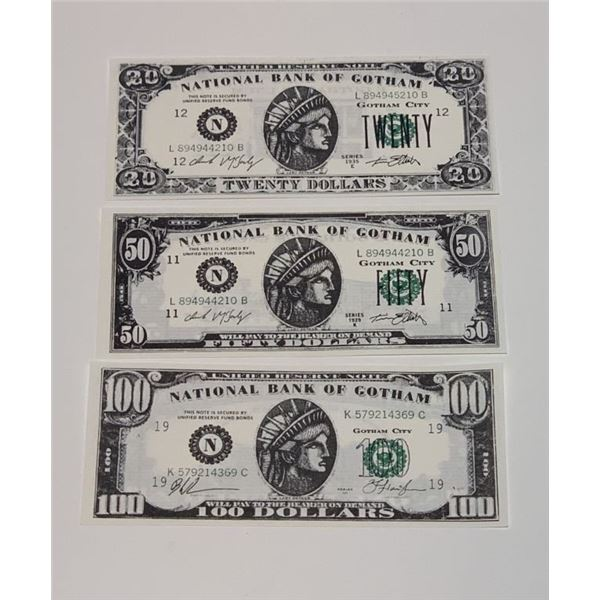 Batman Forever (1995) - 20, 50 and 100 Dollar Money Set