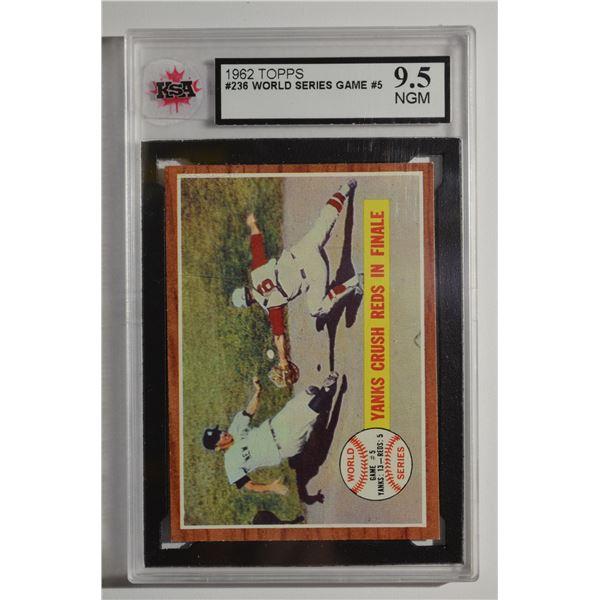 1962 Topps #236 World Series Game 5/Yanks Crush Reds
