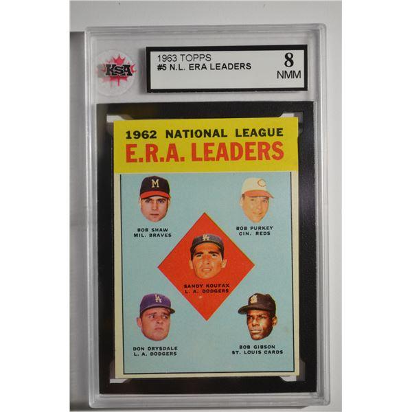 1963 Topps #5 NL ERA Leaders