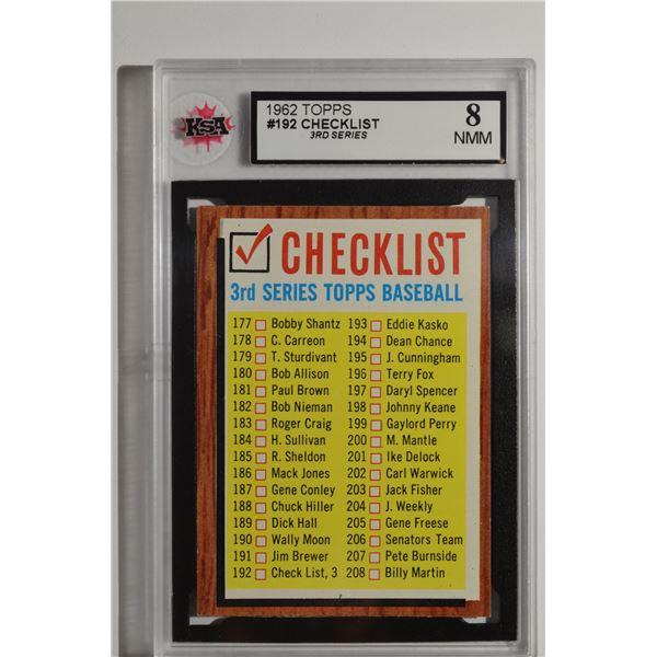 1962 Topps #192B Checklist 3 w/Comma