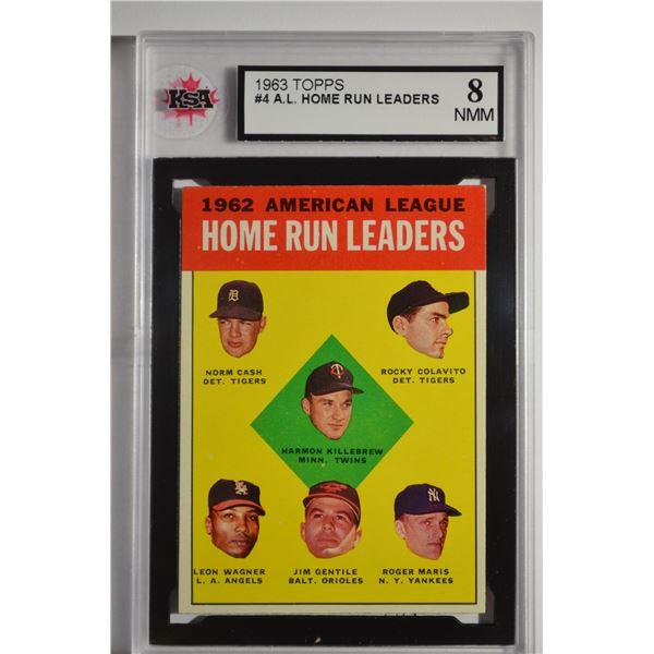 1963 Topps #4 AL Home Run Leaders