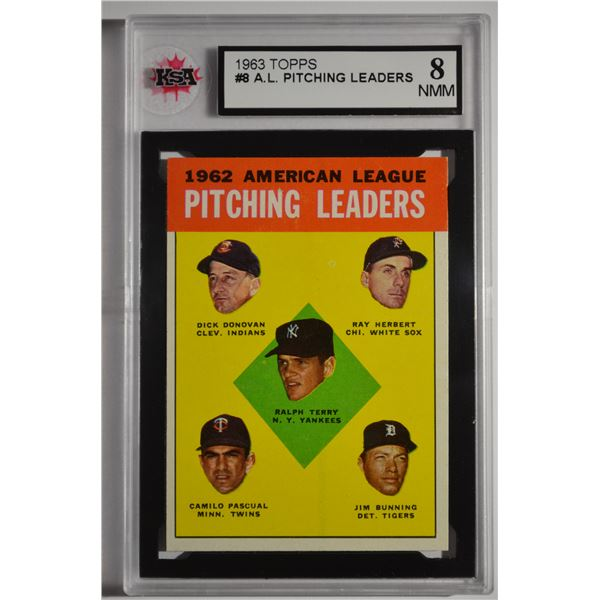 1963 Topps #8 AL Pitching Leaders/Ralph Terry/Dick Donovan/Ray Herbert/Jim Bunning/Camilo Pascual