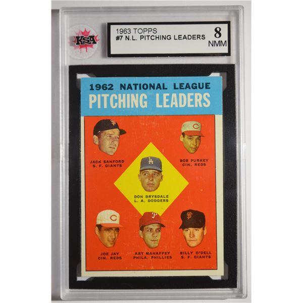 1963 Topps #7 NL Pitching Leaders/Don Drysdale/Jack Sanford/Bob Purkey/Billy O'Dell/Art Mahaffey/Joe