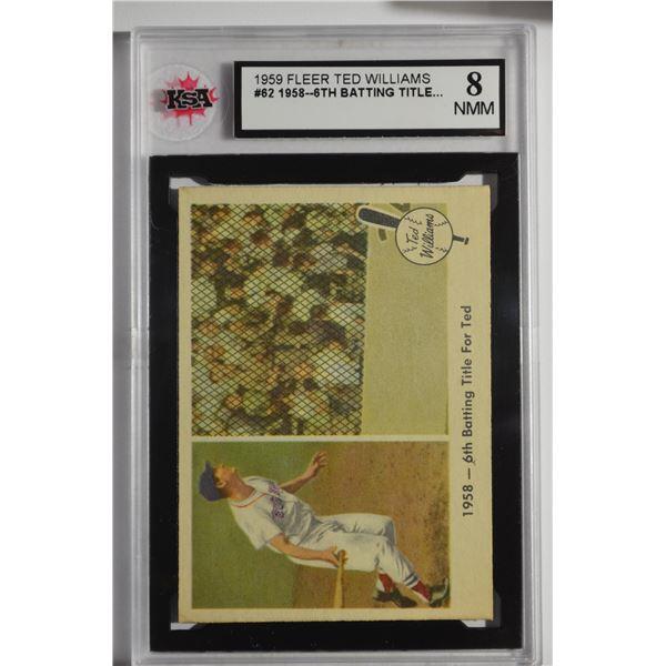 1959 Fleer Ted Williams #62 1958 Sixth Batting Title