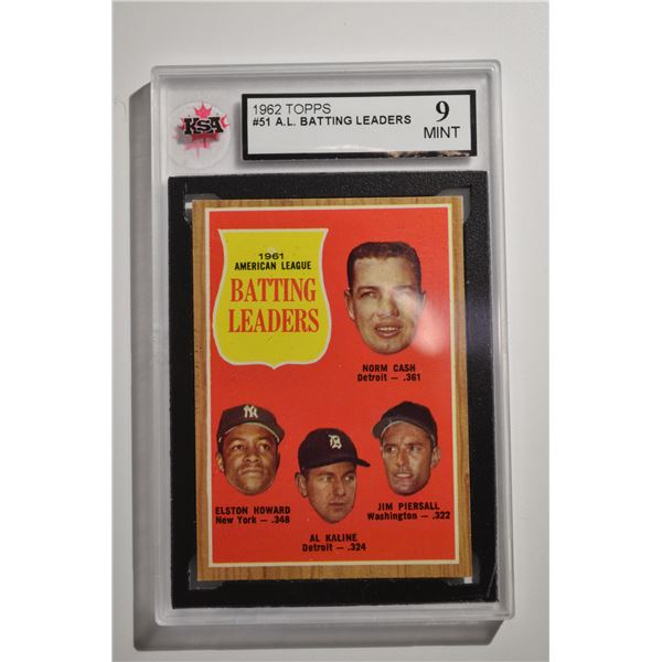 1962 Topps #51 AL Batting Leaders/Norm Cash/Jim Piersall/Al Kaline/Elston Howard