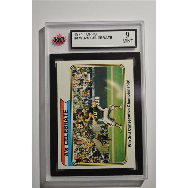 1974 Topps #479 World Series Summary/A's Celebrate