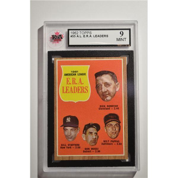 1962 Topps #55 AL ERA Leaders/Dick Donovan/Bill Stafford/Don Mossi/Milt Pappas
