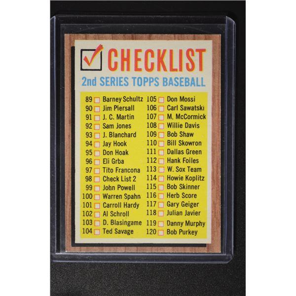 1962 Topps #98 Checklist 2