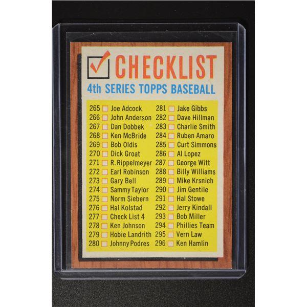 1962 Topps #277 Checklist 4