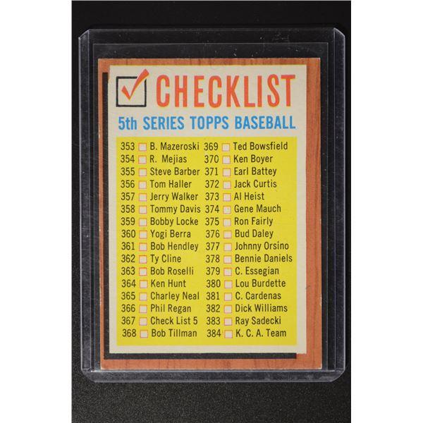 1962 Topps #367 Checklist 5
