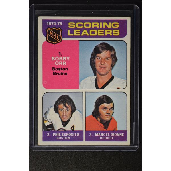 1975-76 Topps #210 Scoring Leaders/Bobby Orr/Phil Esposito/MaROOKIEel Dionne