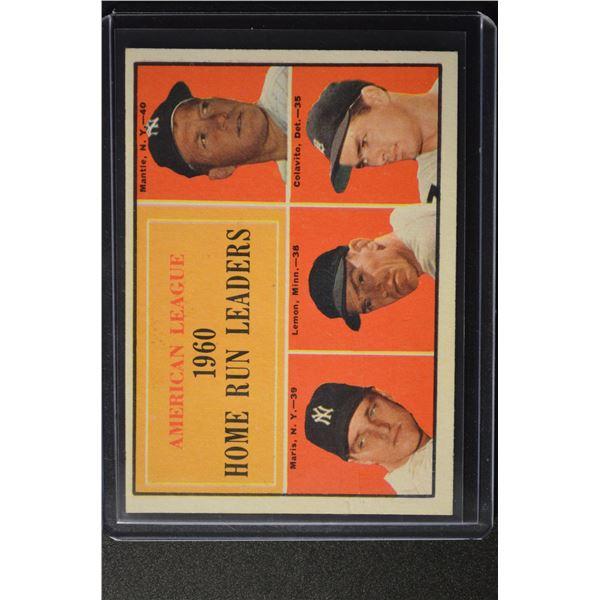 1961 Topps #44 AL Home Run Leaders/Mickey Mantle/Roger Maris/Jim Lemon/Rocky Colavito