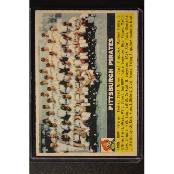 1956 Topps #121A Pittsburgh Pirates TC WB
