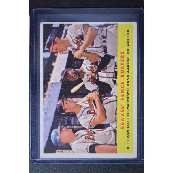 1958 Topps #351 Braves Fence Busters/Del Crandall/Eddie Mathews/Hank Aaron/Joe Adcock
