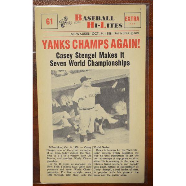 1960 Nu-Card Hi-Lites #61 Yanks Champs Again