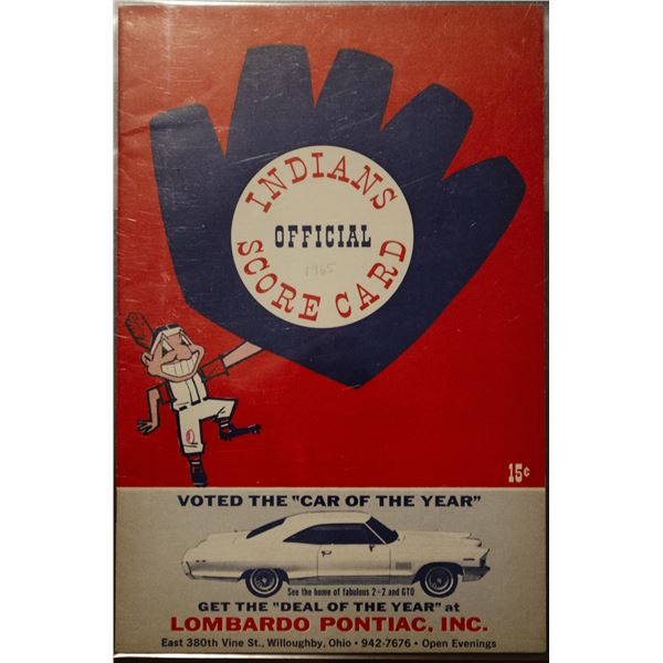 1965 Indians Official Score Card