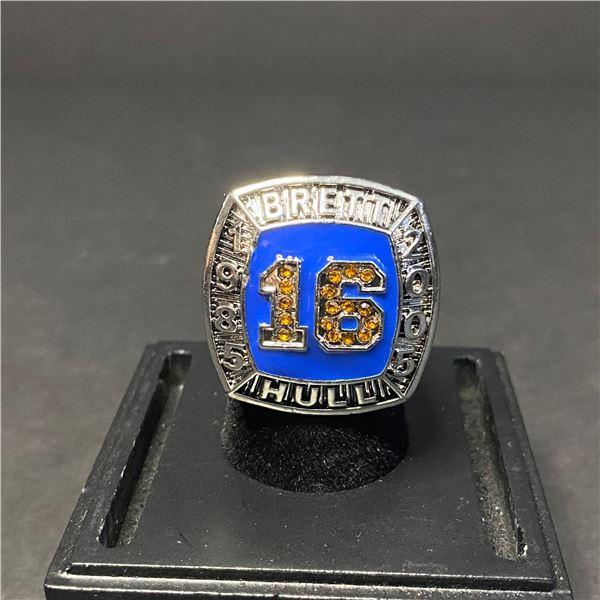 "BRETT HULL #16 HALL OF FAME CHAMPIONSHIP REPLICA RING ""THE GOLDEN BRETT"""