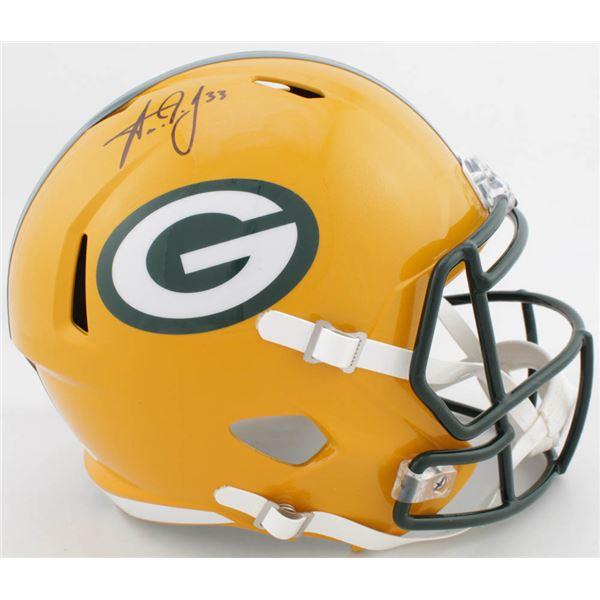 Aaron Jones Signed Packers Full-Size Speed Helmet (Beckett COA)