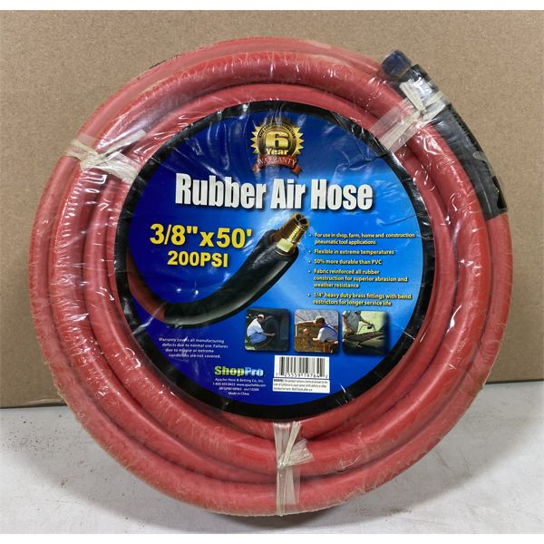 """AIR HOSE - RUBBER 3/8"""" X 50' 200 PSI - NEW"""
