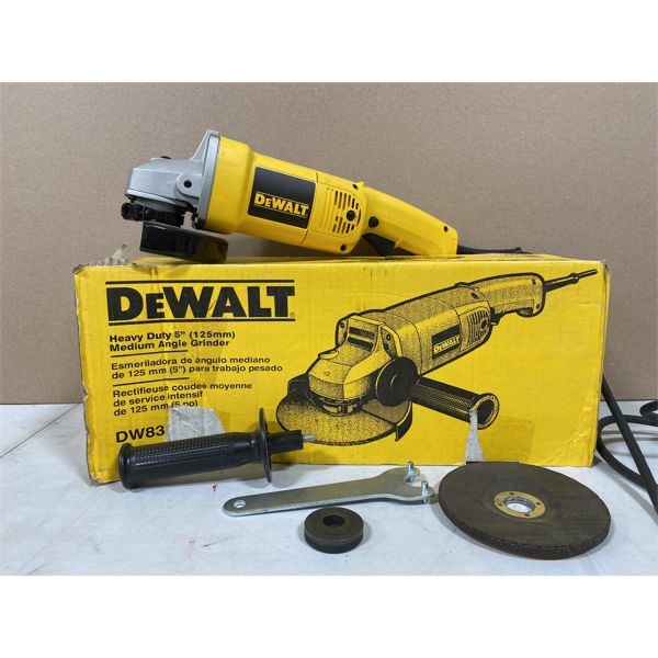 DEWALT 5 INCH ANGLE GRINDER WITH DISCS - AS NEW