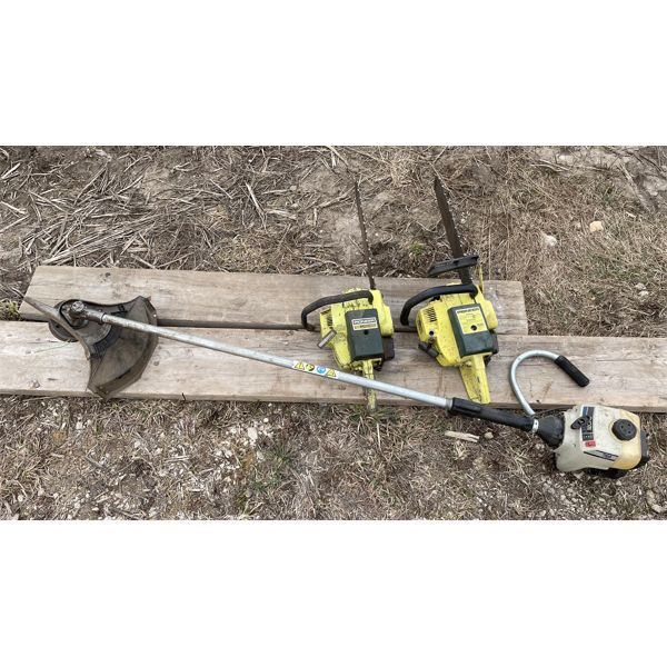 LOT OF 2 PIONEER P26 CHAINSAWS AND GAS TRIMMER - UNKNOWN WORKING CONDITION